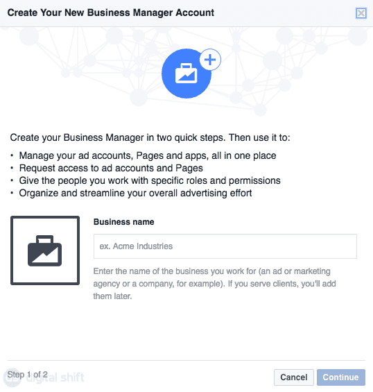 How To Create a Facebook Business Manager Account Step 3